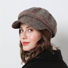 Женские Восьмиугольные шляпы для зимы, женские хлопковые шляпы, клетчатые винтажные модные повседневные осенние шапки boina, брендовые новые хлопковые женские шапки