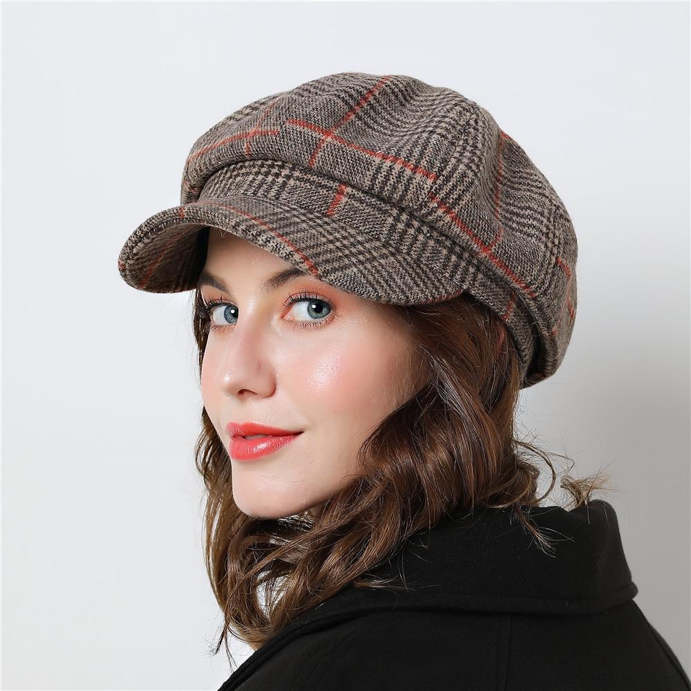 Women Octagonal Hats For Winter Female Cotton Hats Plaid Vintage Fashion  Casual Boina Autumn 2018 Brand New Cotton Women's Caps