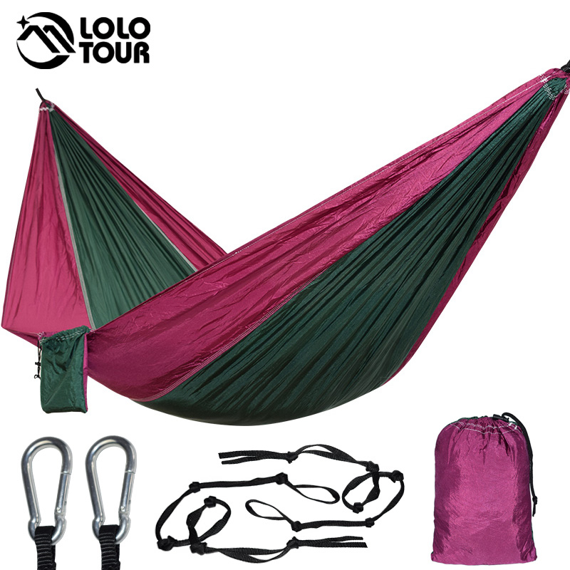 Outdoor Hanging Parachute Hammock Swing Single Person Hamak Sleeping Tree Bed Backpacking Relax Nylo