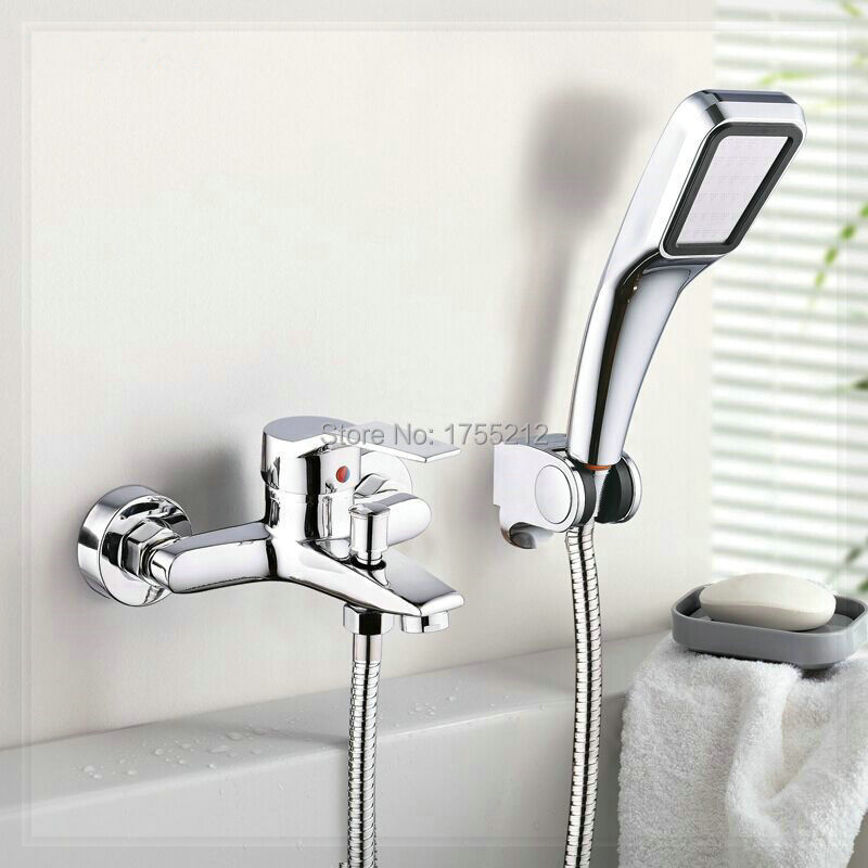 Wall Mounted Bathroom Faucet with diverter Bath Tub Mixer Tap With ...