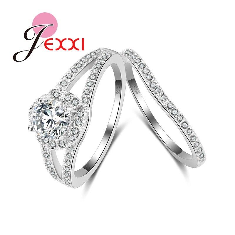JEXXI Мода Цирконий Кристалл Серебряная свадьба Обручение набор колец для Для женщин Мода полос Promise Ring Set