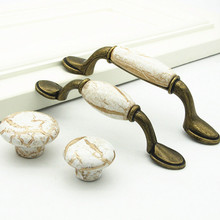 1pcs Wall Cabinet Knob Door Handle Decorative Ceramic Knobs and Pulls Round Marble Pattern Drawer Cupboard