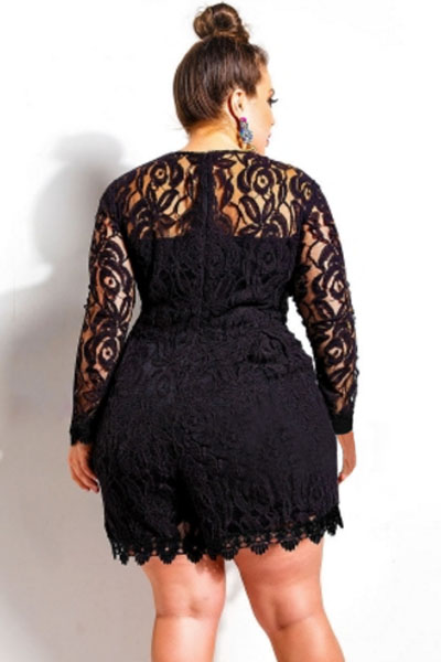 Online Shop La Chilly Black Plus Size Long Sleeve Lace Romper ...