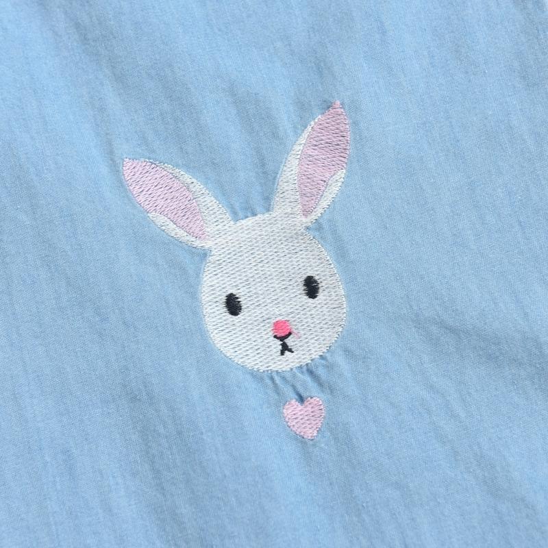 Light Blue Deep Blue Kawaii Bunny Embroidery Jeans Pants Women Summer Casual Straight Pants With Pockets Fashion Ninth Pants3