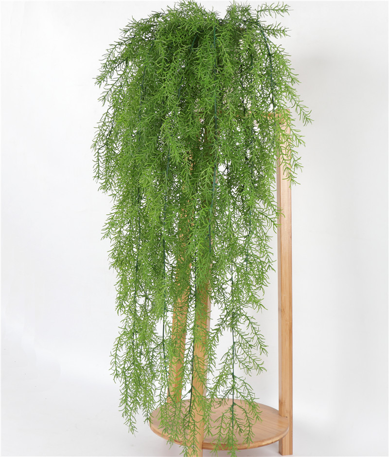 Artificial Greenery Ferns Plants Vines Pine Needle Wall Hanging Simulation Plastic Plant Indoor Outdoor Wedding Garland Decor