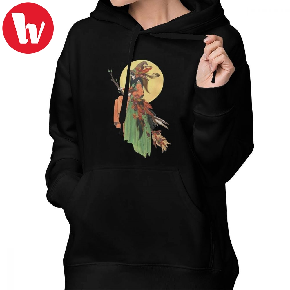 Witch Moon Hoodie Autumn Witch Hoodies Graphic White Hoodies Women Plus Size Cotton Long Sleeve Streetwear Pullover Hoodie