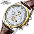 Nova guanqin marca de moda homens esportes relógios quartz hour data relógio dos homens pulseira de couro à prova d' água relógio masculino multifuncional