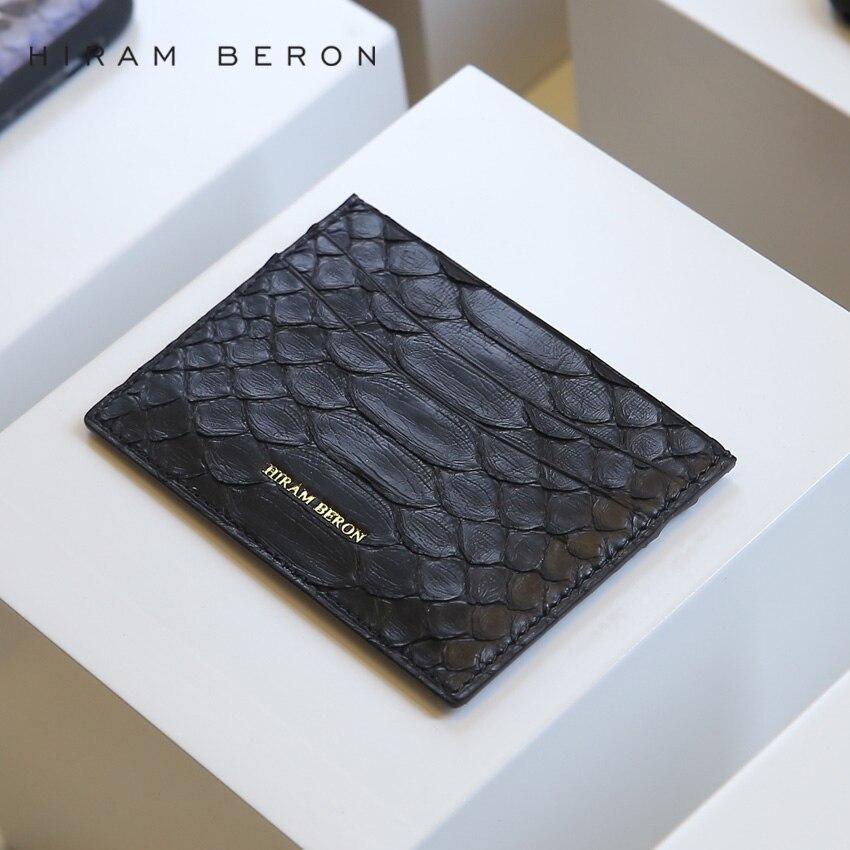 Hiram Beron Läder Kort Hållare Unisex Python & Lamb Skin Kreditkort - Plånböcker - Foto 3