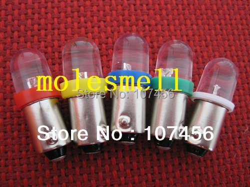Free shipping 100pcs T10 T11 BA9S T4W 1895 12V R Y B G W Led Bulb Light for Lionel flyer Marx