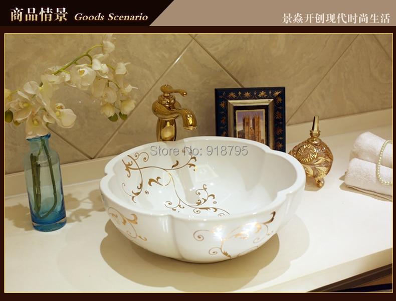 Ronde porcelaine peint à la main Art lavabo en céramique lavabo navire JY-HB120