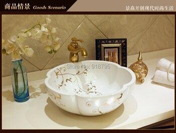 Lavello Tondo | Rotonda Porcellana Dipinta A Mano Di Arte Lavabo Bagno In Ceramica Lavello Del Vaso JY-HB120