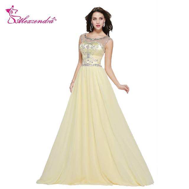 3d34becf36f Alexzendra Scoop Neck Beaded A Line Long Prom Dresses Yellow Illusion Back Formal  Evening Gowns Party Dress Plus Size