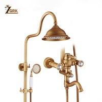 Vender Grifo de baño ZGRK ducha de lluvia antigua baño de latón lluvia con rociador Sistema de