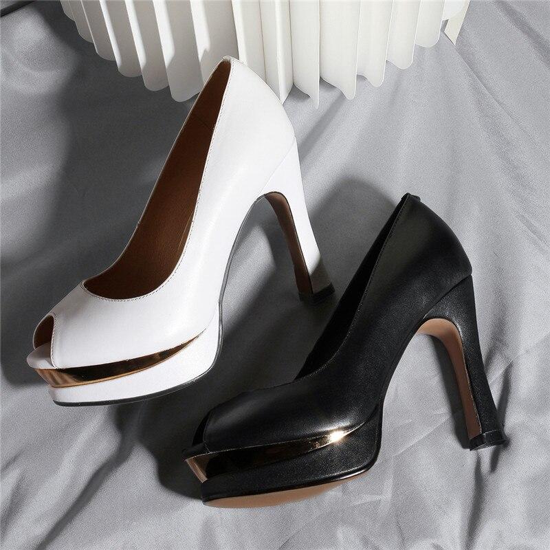 Elegantes blanco Negro De Tacón Peep Zapatos Blanco Bombas Vestido Verano Ymechic 2018 Señora Toe Negro Plataforma Mujeres Oficina ARXTa
