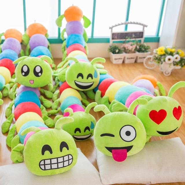 50cm Lovely Inchworm Stuffed Plush Doll Toys With Cute Emoji Smile