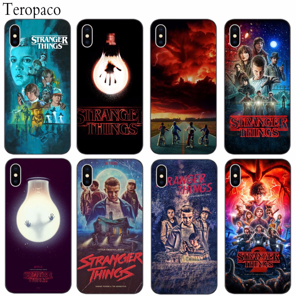 For iphone 7 Case TV Stranger Things Pattern Soft Silicone Black Phone Case Cover For iphone X 7 7Plus 8 8Plus 6S 6Plus 5S SE