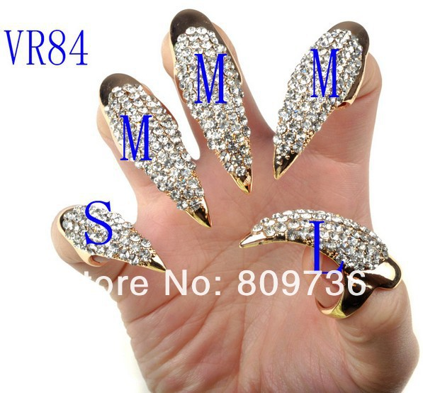 5PCS Crystal Nail Ring Punk False Nail Jewelry Crystal Rhinestones ...