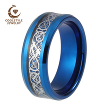 8mm Blue Tungsten Carbide Silver Dragon Blue Carbon Fibre Inlay Mens Womens Wedding Band Engagement Ring Comfort Fit