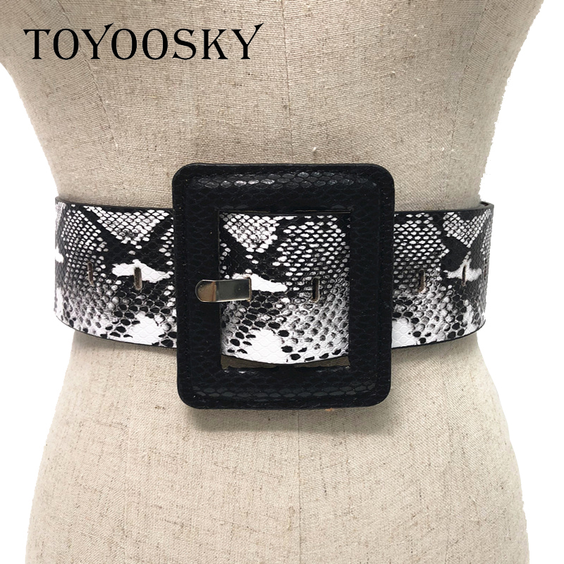 Women PU Leather Snake Skin   Belt   Vintage Sexy Wide Female Hup Square Pin Buckle Black White Waistbelt Luxury Brand High Quality