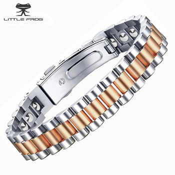 LITTLE FROG Simple Style 19 pcs 99.9999% Pure Germanium Bracelet For Women Health Rose Gold Color 316L Stainless Steel Bangles - DISCOUNT ITEM  30% OFF All Category
