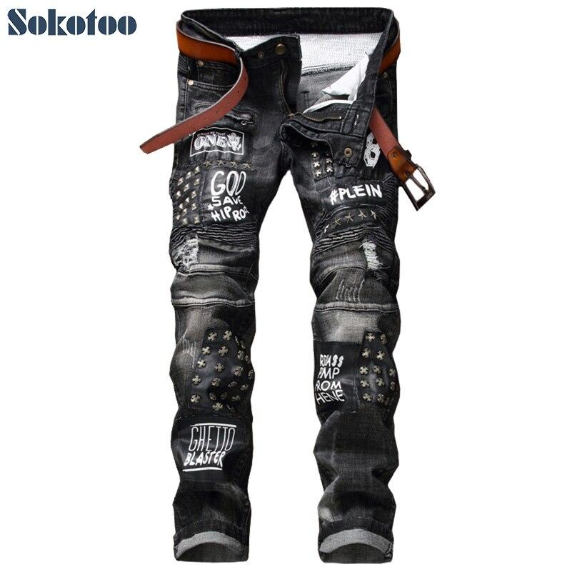 Sokotoo Для мужчин модные Черный патч заклепки плиссированные байкерские джинсы Повседневное лоскутное печати джинсы длинные брюки