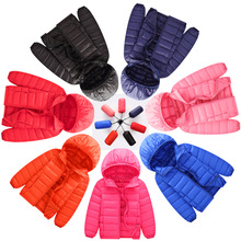 Children's jackets 2018 new thin children's feather cotton clothing boys and girls fashion solid color zipper jacket