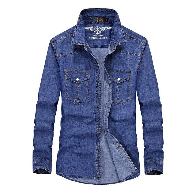 7c4708340fca4fe M-5XL Большой размер бренд АФН джип джинсовая рубашка мужская наивысшего  качества Мужская Повседневная рубашка