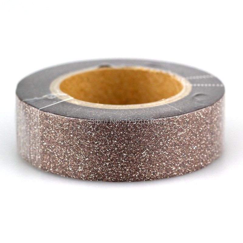 1PCS 15mm*10m Cute Brown Glitter Tape Decorative Washi Tape Paper DIY Scrapbooking Adhesive Tapes For Photo Album Stationery
