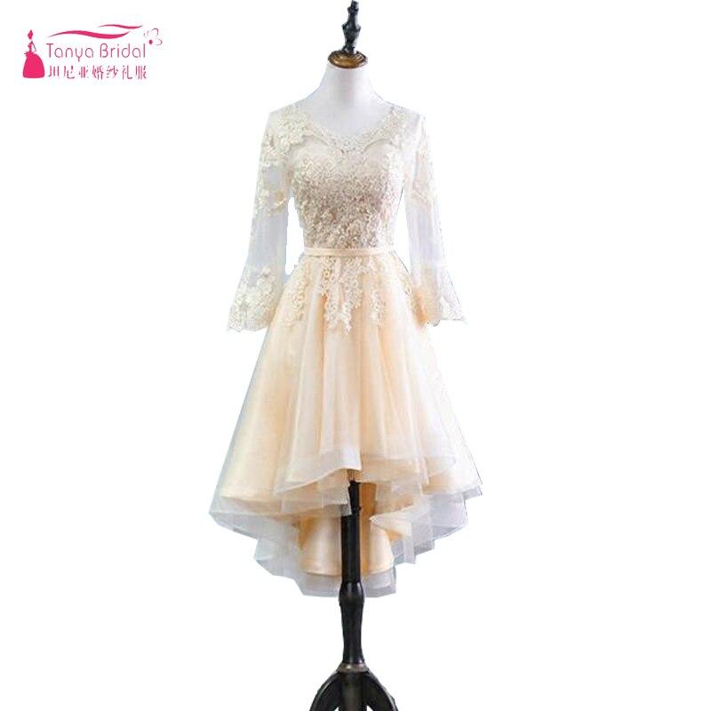 Long Sleeve Champagne Prom Dresses High Low In Stock Women Formal Gowns Cheap African Evening Dress Vestido De Festa ZP054