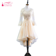 Long Sleeve Champagne Prom Dresses High Low In Stock Women F