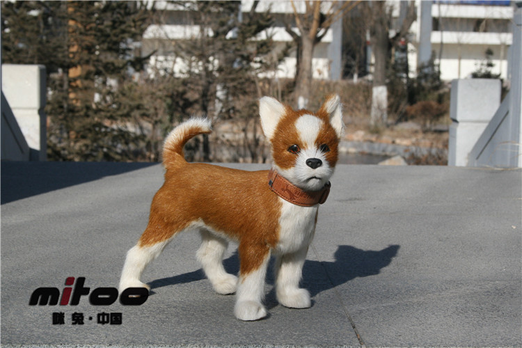 lovely simulation Chihuahua dog toy cute chihuahua model,fur& lifelike doll about 21x9x21cm large 24x24 cm simulation white cat with yellow head cat model lifelike big head squatting cat model decoration t187