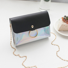 2019 New Women Womens Laser Chain Mini Shoulder Crossbody Bag Circle Small Messenger Handbags Purses Evening Party Clutch Bags