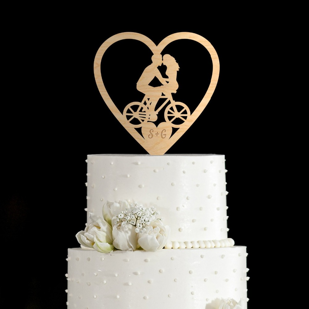 Personalized Bride Groom Wedding Cake Topper Romantic Wooden Mr Mrs Bicycle Engraved Cake Topper Custom Party Decoration In Cake Decorating Supplies From Home Garden On Aliexpress