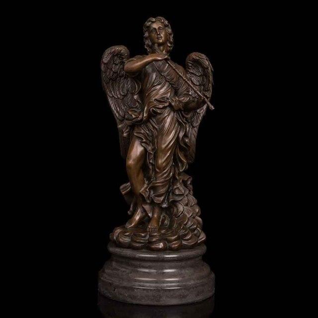 Bronzen Engelen Beelden.Us 612 17 35 Off Atlie Brons Westerse Mythologie Sculptuur Engel Met Fluit Standbeelden Antieke Beeldjes Collection Verjaardag Geschenken In Atlie