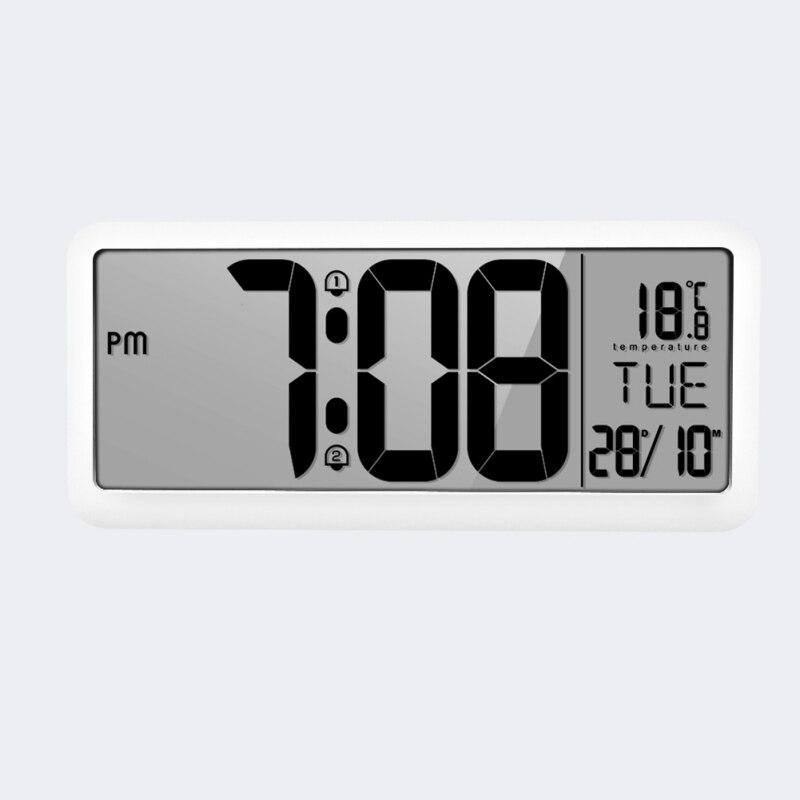 Horloge murale numérique à Volume réglable alimentée par batterie avec 2 réglages d'alarme grande horloge d'affichage à cristaux liquides - 2