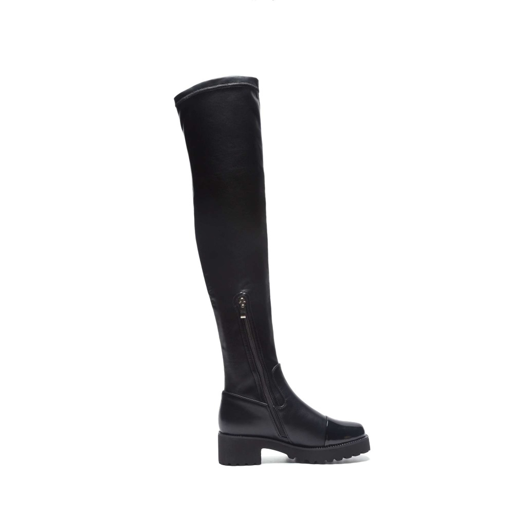 Chaussures stretch Nouvelle Vache Fabric Streetwear En Rivets Med Mode Rond Bottes Mince Stretch Loisirs Cuir Cuissardes Talons Microfiber Bout L56 Étanche Zip 5RqTY