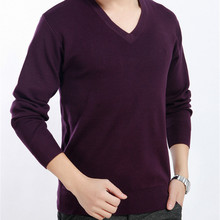 New Fashion Style Male Sweaters Good Quality Solid Slim V-neck Thick Men Pullovers Large Size Casual Wear Comfortable Cozy