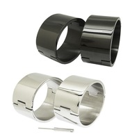polished Brushed silver Black 100% stainless steel wrist ankle cuffs lockable bangle slave bracelets jewelry