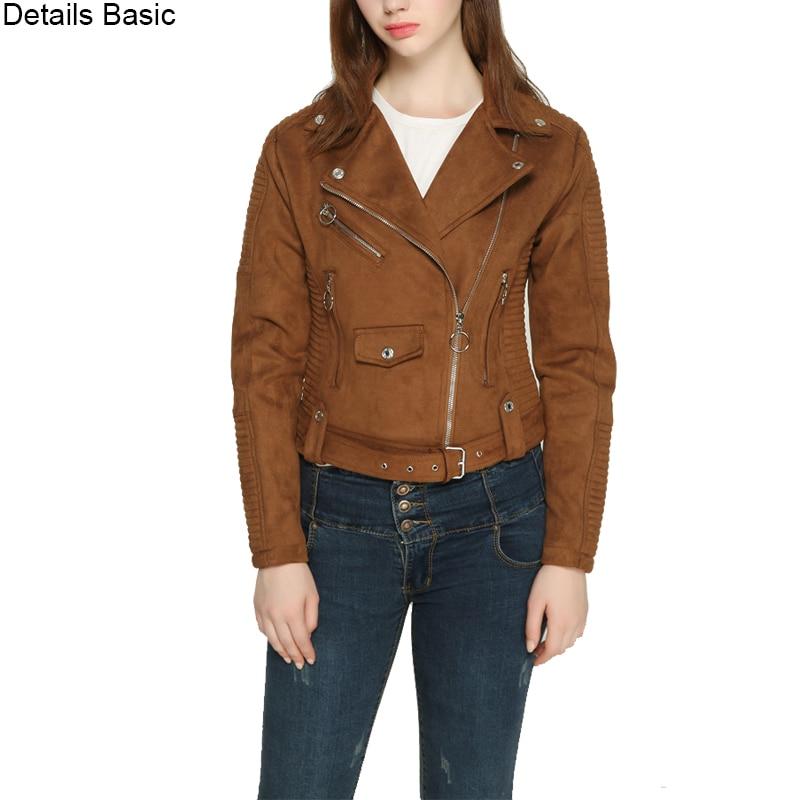 women short coat faux leather jacket zipper pockets motorcyle jackets slim fit S-XL drop shipping coffee gray long sleeve
