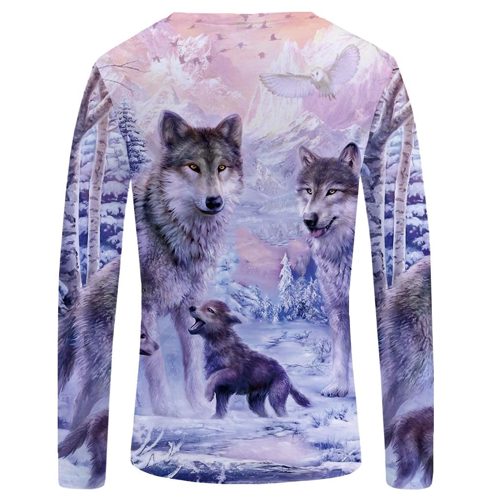 KYKU Wolf T shirt Men Long sleeve shirt Love Streetwear Snow Graphic Mountain Clothes Jungle 3d T-shirt Hip hop Mens Clothing 1