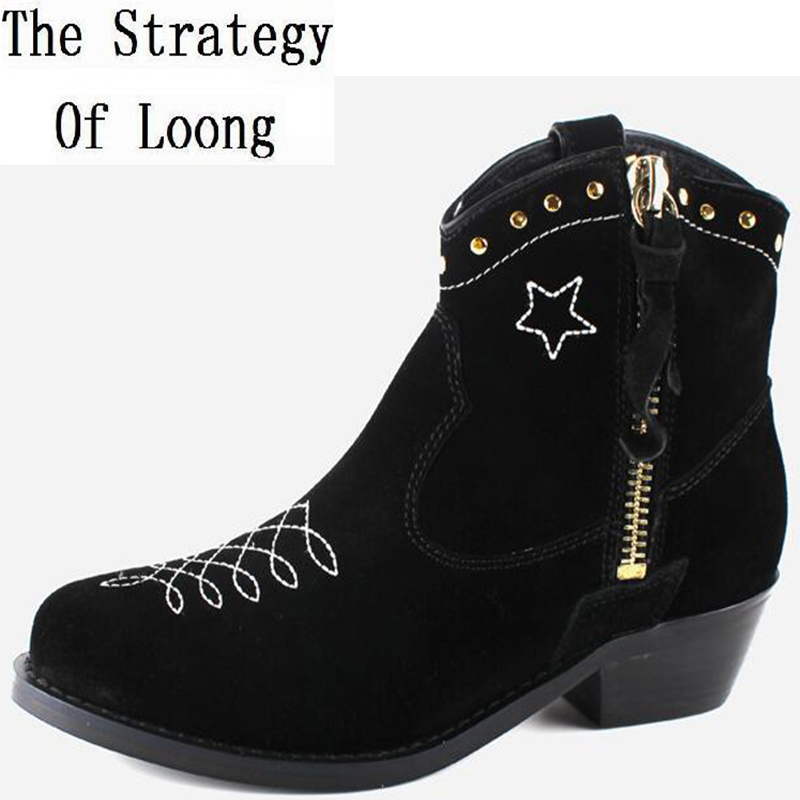 Spring Autumn Women Thick Mid Heel Genuine Leather Side Zipper Rivets Pointed Toe Fashion Ankle Boots Size 34-39 SXQ1008 women spring autumn thick high heel genuine leather pointed toe side zipper buckle fashion ankle martin boots sxq0806