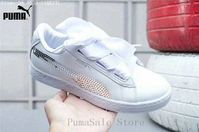 best website 69592 ae4bd US $50.74 17% OFF|PUMA Women's Basket Heart Glitter Wn Sneaker Women Shoes  White Bow Lightweight Badminton Shoes Size 35 39-in Badminton Shoes from ...