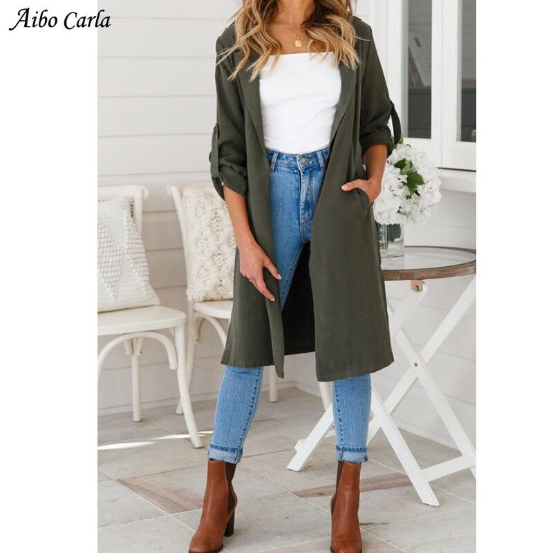 72b0e1a17 Womens Autumn Winter Turn Down Collar Wool Coat Medium Long Outerwear High  Fashion Dark Green Woolen Trench Coat Belted XH589