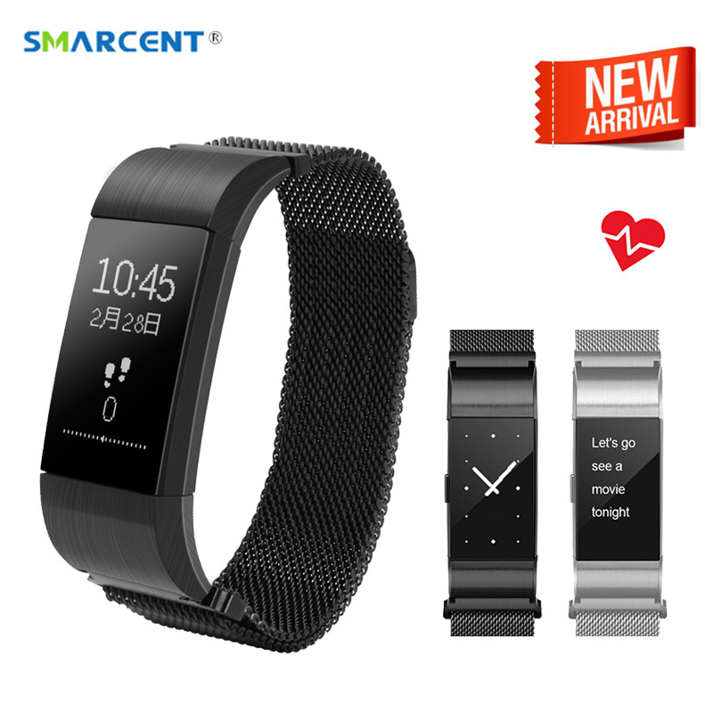 SMARCENT Bluetooth Smart Band Heart Rate Blood Pressure Monitor Smart Band Wristband Fitness Tracker Bracelet for