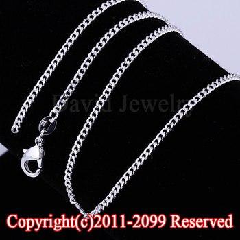"""30 unids/lote 18 """"2MM Collar de plata de ley 925 joyería plana frenar las cadenas de hallazgos de joyería para colgantes"""