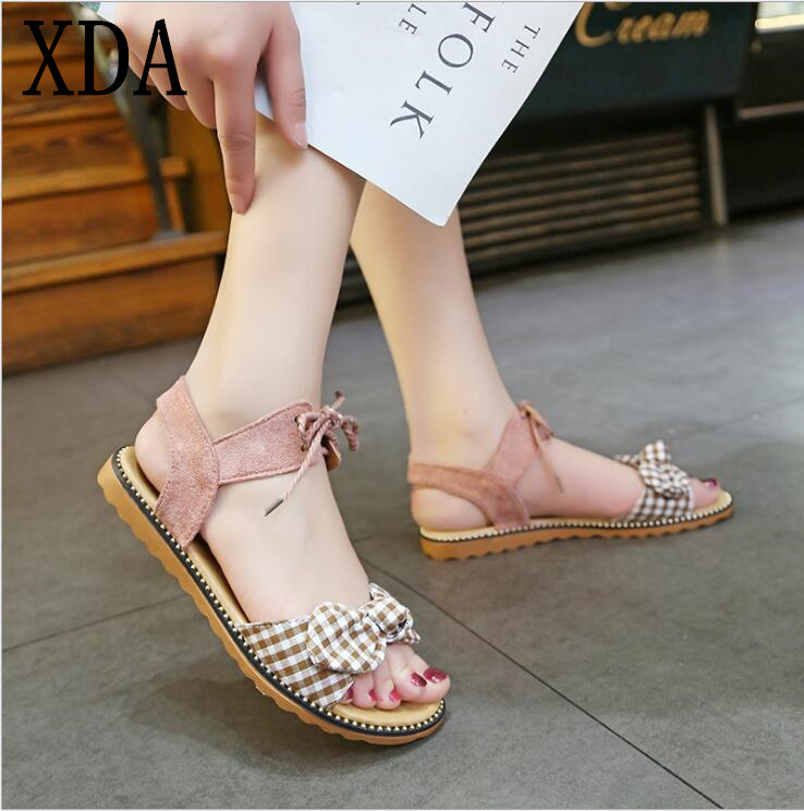 XDA Fashion Sandals Women Flats 2019 Summer bow-knot sandals Ladies lace-up Beach Sandals Cute student casual women shoes E113 1