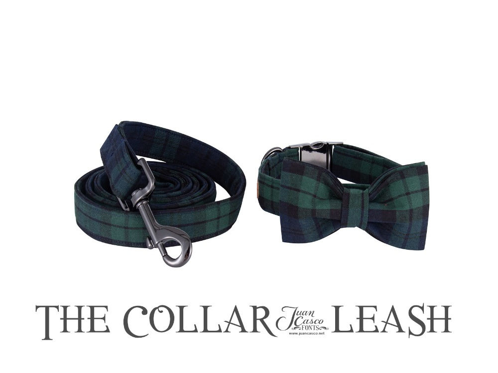 Unique Style Paws Dog Collar and Leash Set Soft&Comfy Handmade Bowtie Separate Christmas Pet Gift For Dogs and Cats