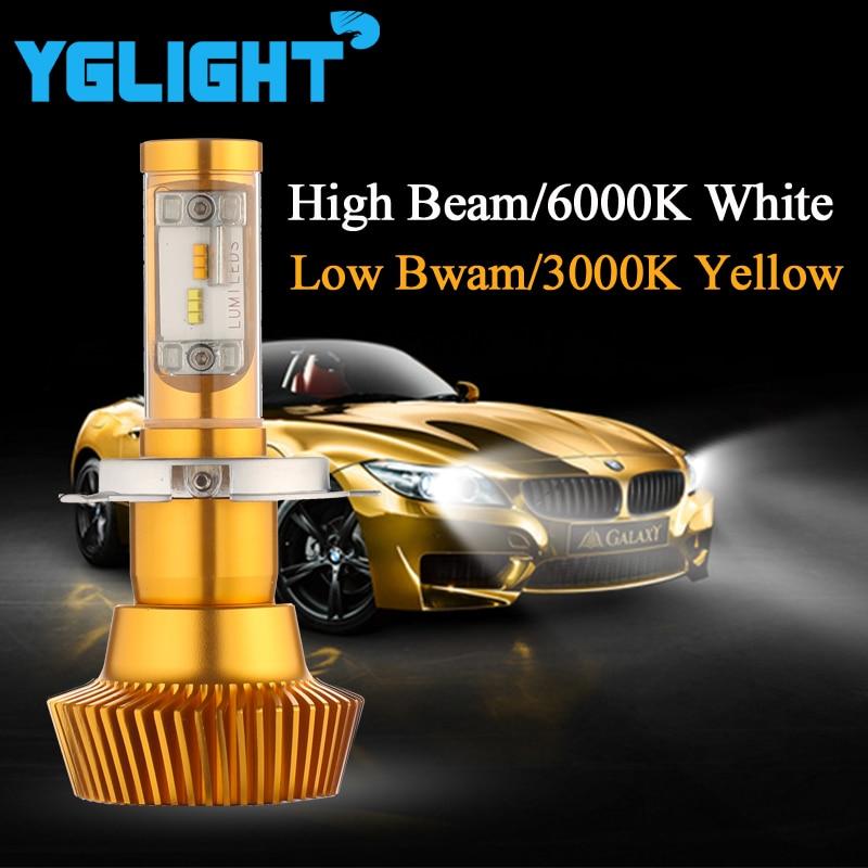 80W 9600LM H4 Led Car Headlight H/L Beam 3000K & 6000K Dual Color Automotive Led Headlight Bulbs Kit Auto Fog Light 9003 HB2 fit byd chery lifan mg led headlbulbs h4 h7 h1 h11high low beam auto bulbs led 6000k canbus external light automobiles headlight