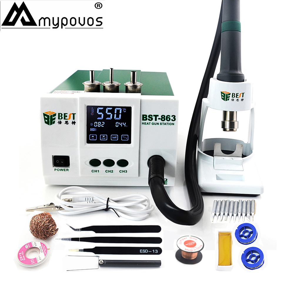 BST-863 Best Quality High Power 1200W Digital Touch Screen Display Hot Air Heat Gun SMD Rework Desoldering Station