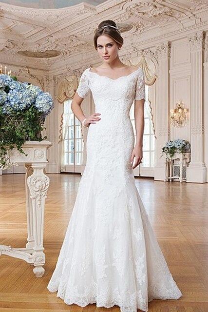 Aliexpress.com : Buy Romantic White Lace V neck Wedding Dress ...